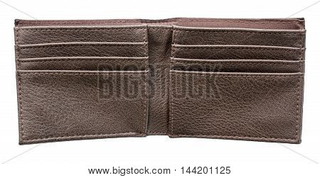 Brown leather men's wallet open and empty on an isolated white background with a clipping path