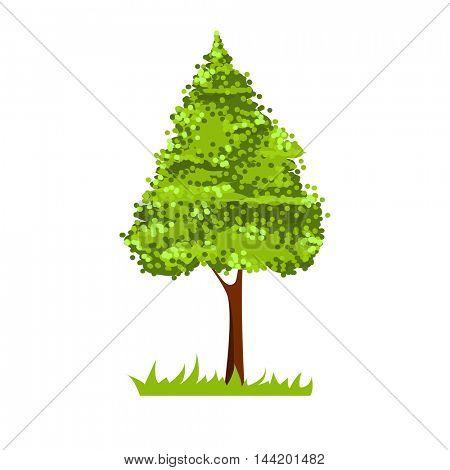 Stylized tree isolated on white background. Good for logotype. Vector illustration