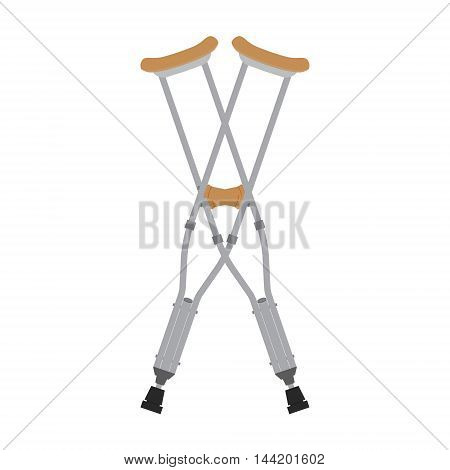 Crutches icon. Vector illustration of pair crossed wooden crutches or medical walking sticks for rehabilitation of broken leg.