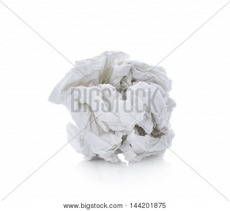 crumpled tissue paper on white background object
