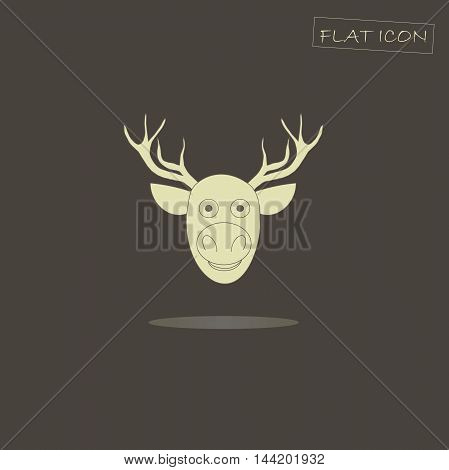 Light deer head icon on black, vector illustration
