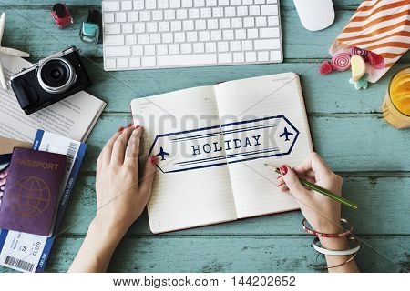 Travel Adventure Holiday Stamp Concept