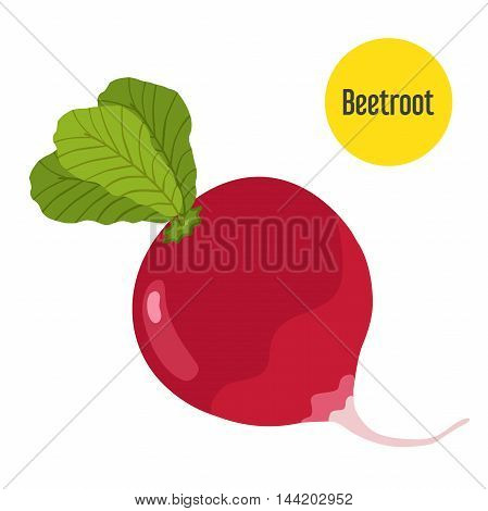 Vector beetroot isolated on white background with yellow label. Flat style for markets, garden and other.