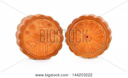mooncake on white background food sweet brown
