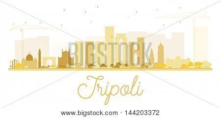 Tripoli City skyline golden silhouette.