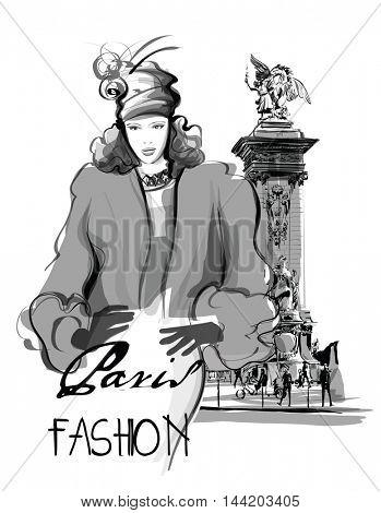 Fashion model walking on Alexander III Bridge in Paris France - vector illustration