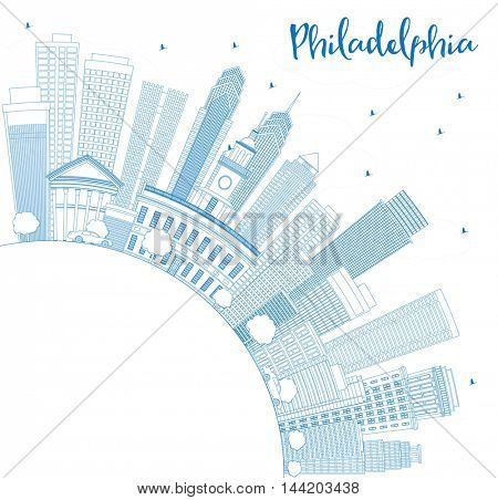 Outline Philadelphia Skyline with Blue Buildings and Copy Space. Business Travel and Tourism Concept with Philadelphia City Buildings. Image for Presentation Banner Placard