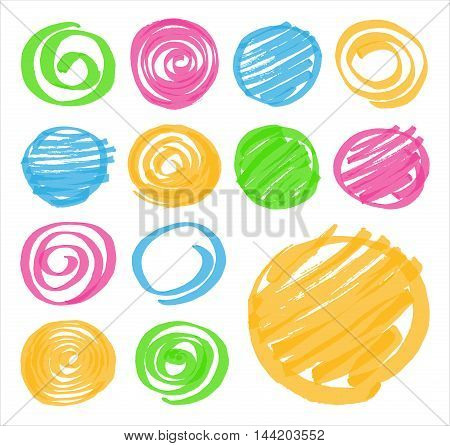 Highlighter marker hand drawn design elements. Set of highlighter shaded circles and spirals in different colors. Optimized for one click color changes. Vector art in EPS10 format with transparency.