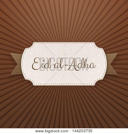 Eid al-Adha Text on paper Tag with Ribbon