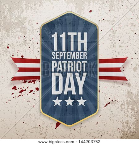 Eleventh September. Patriot Day Tag with Ribbon
