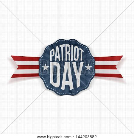 Patriot Day Text on patriotic Label with Ribbon