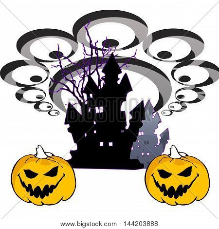 white background with castle and pumpkin halloween
