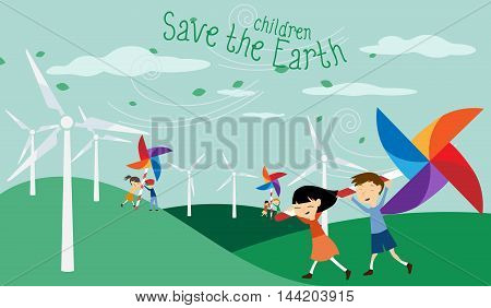 Save the Earth - Green economy for children - Illustration with electric windmill and pinwheel for kids