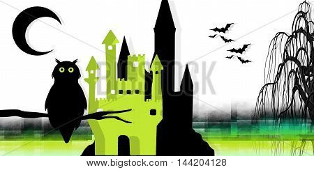 white background  of halloween with castle and animals