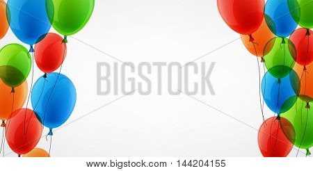 White background with colour balloons. Vector illustration.