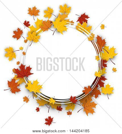 Autumn round background with golden maple leaves. Vector paper illustration.