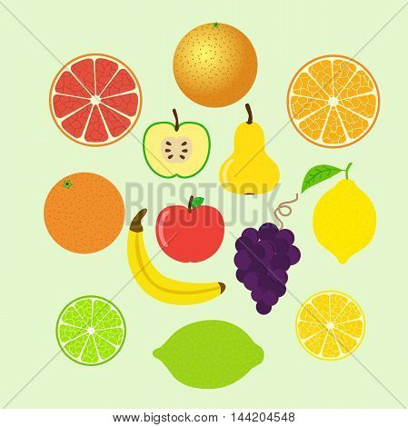 Set of colorful cartoon fruit icons: apple, pear, orange, banana, grapes, lemon, grapefruit, lime and slices. Vector illustration, isolated.