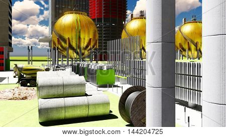 Building construction of nuclear plant 3d rendering