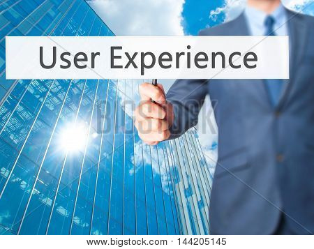User Experience - Business Man Showing Sign