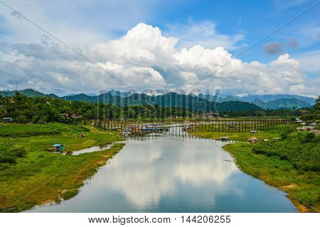 Rural view of Mon Bridge in Sangkhlaburi Kanchanaburi Thailand