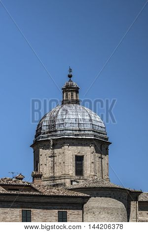 grey old church dome sunny day closeup