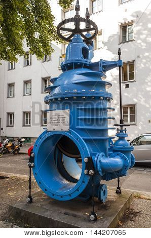 Photo of a water pipeline obturator built in 1936 exposed in Vienna Austria