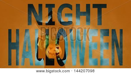 Double exposure phrase Night Halloween combined with image of witch with pumpkin