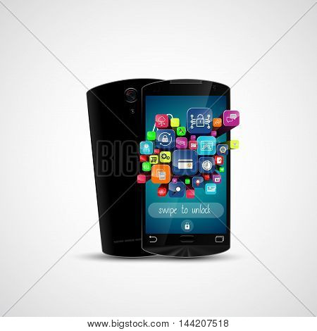Black touch screen smartphone and application icon isolated on white background