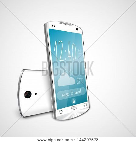 Illustration of  White touch screen smartphone isolated on white background