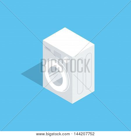 Automatic washing machine. Vector illustration of isometric isolated icon. Clean flat style. Household appliances.