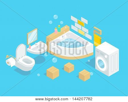 Bathroom interior vector illustration. Hanging toilet without tank. Sink with a mirror hanging on the wall. Automatic washing machine. Bathtub filled with water.