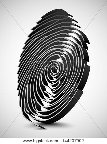 Illustration of White fingerprint scanner. 3D illustration