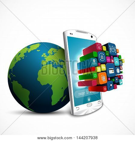 White touch screen smartphone with application icons and green Earth globe isolated on white background