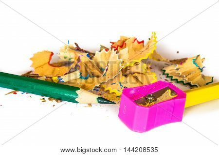 Sharpener and color pencil for student isolated
