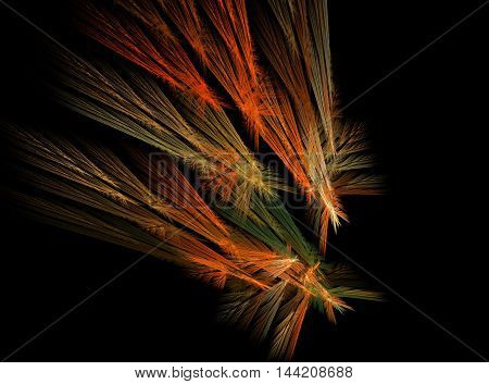 Fractal, abstraction, flying many colorful comets on a black background