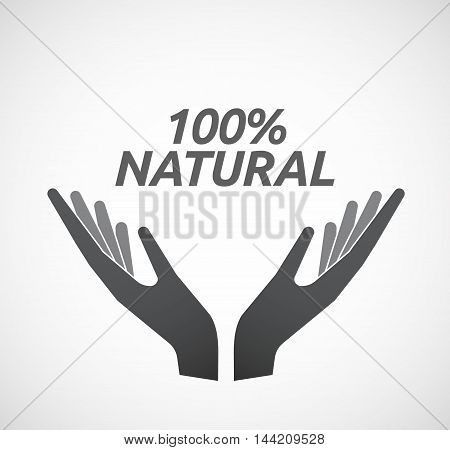 Isolated Hands Offering Icon With    The Text 100% Natural