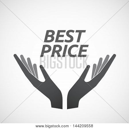 Isolated Hands Offering Icon With    The Text Best Price