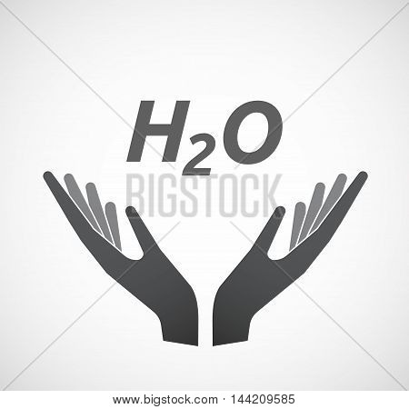 Isolated Hands Offering Icon With    The Text H2O