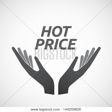 Isolated Hands Offering Icon With       The Text Hot Price