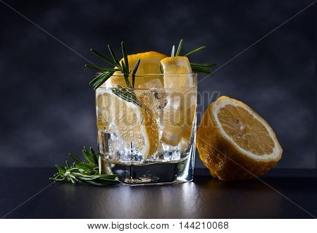 Alcoholic Drink With Tonic, Lemon And Rosemary