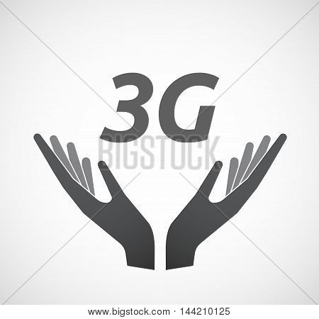 Isolated Hands Offering Icon With    The Text 3G
