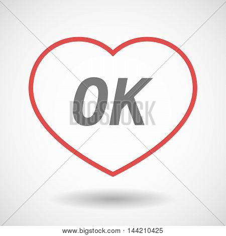 Isolated  Line Art Heart Icon With    The Text Ok