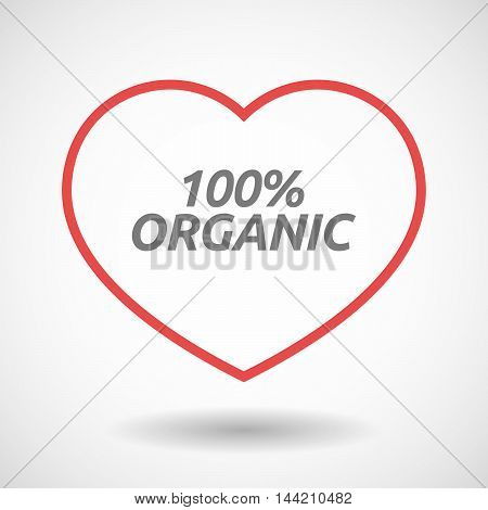 Isolated  Line Art Heart Icon With    The Text 100% Organic
