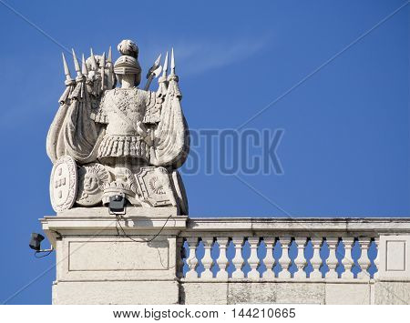 Detail of the west power of the Ribeira Palace in Lisbon Portugal