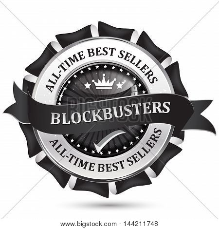All time best sellers. Blockbusters - black business glossy icon / label.