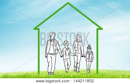 House figure with family as real estate symbol on clouds background