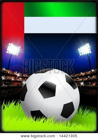 United Arab Emirates Flag with Soccer Ball on Stadium Background Original Illustration