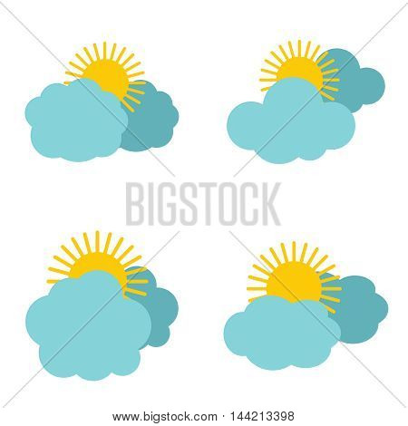 Cloud icons with sun on white background. Meteorology and cloudy, vector illustration