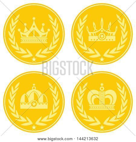 Yellow coin icons with crown on white background. Golden coin icon, vector illustration