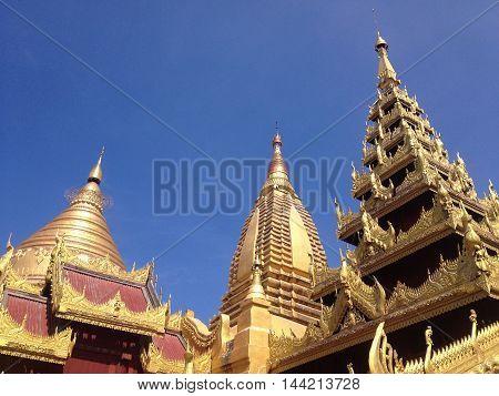 Shwezigon Pagoda temple in Nyaung-U Bagan Myanmar
